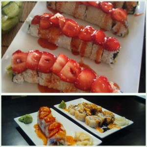 The top photo is my remake of a Strawberry Fields Sushi Roll. The bottom photo is the original Strawberry Fields Sushi Roll at Sushi Seven in Bozeman Mt.