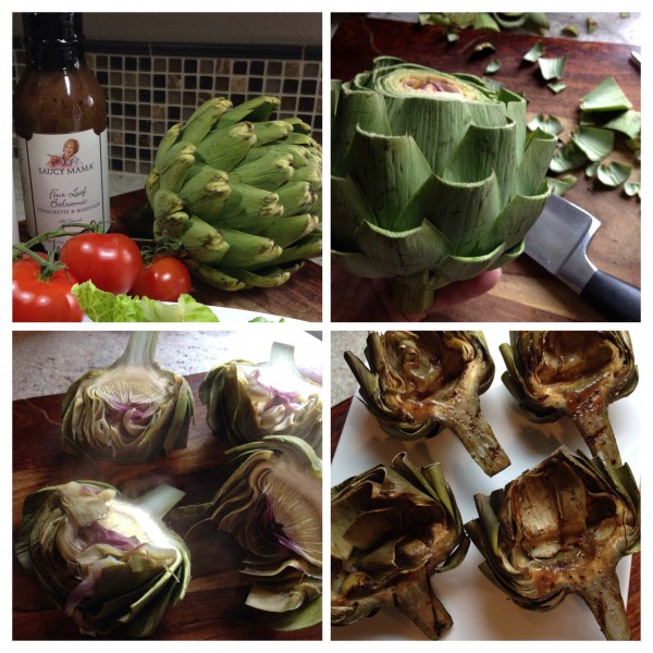 Grilled Artichokes with Saucy Mama's Four Leaf Balsamic Vinaigrette and Marinade
