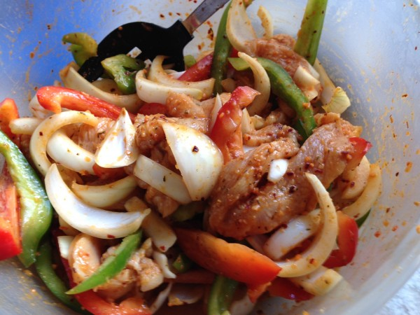 Thinly sliced chicken, bell peppers and onions with Mrs Dash Southwest Chipotle Seasoning