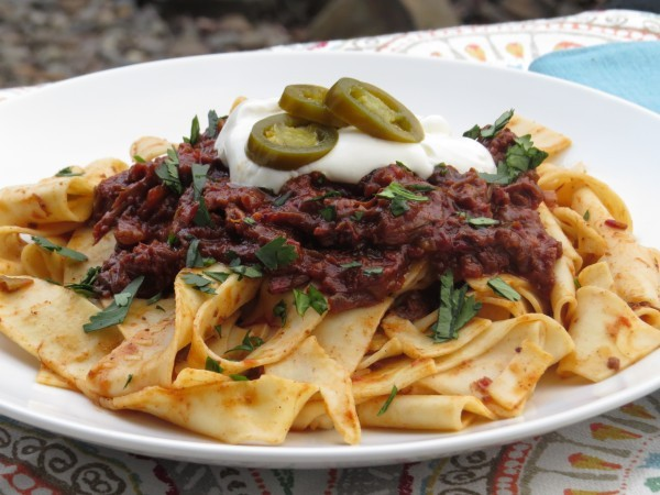 Smokey Short Ribs Chili over Pappardelle