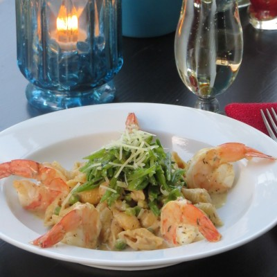 Champagne Mustard Shrimp with Leek and Pasta Style Risotto and Snow ...
