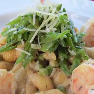 Mustard Shrimp with Leek and Pasta Style Risotto and Snow Pea Salad ...