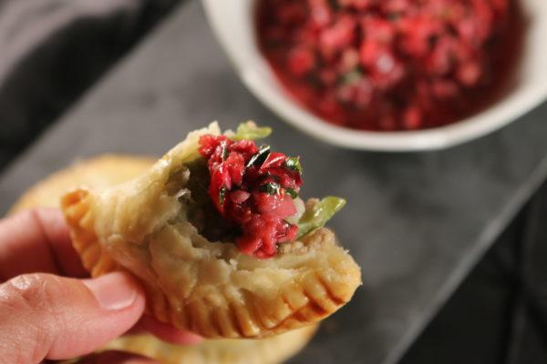 Holiday Turkey Party Pocket s with Cranberry Chimichurri